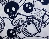 Skeleton and Japanese motif, dark blue, fat quarter, pure cotton fabric