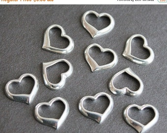 CLEARANCE Sterling Silver Heart Charm - Pendant Drop Component 12x10mm