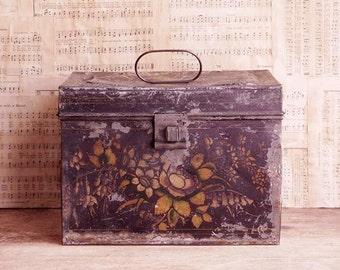 Antique Painted Tole Document Box, Folk Art Painted Flowers, Primitive Antiques