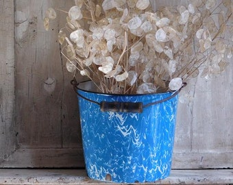 Vintage Blue Swirl Enamelware Bucket Pail, Blue and White Farmhouse Decor