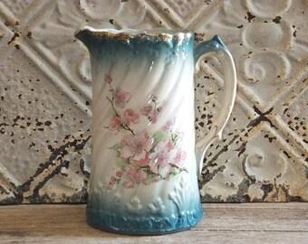 Vintage Flower Pitcher, Pink Flowers, Shabby Cottage, Farmhouse Decor