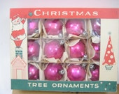 Vintage Fantasia Glass Christmas Ornaments, Dark Pink / Deep Rose / Cerise -  12 Ornaments in Original Box, 1 3/4 Inches - Poland