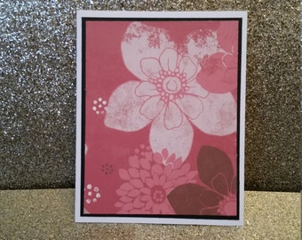 Handcrafted, Handmade, Blank floral card, Greeting Card, Birthday Card, Thank You Card, All Occasion Card, Note Card