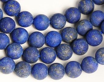 8mm Frosted Lapis Lazuli Round Beads  -15 inch strand