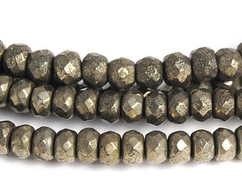 4x3mm Faceted Pyrite Rondelle Beads -15.5 inch strand