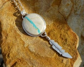 Royston Ribbon Turquoise Sterling Silver Hand Cut Feather Necklace