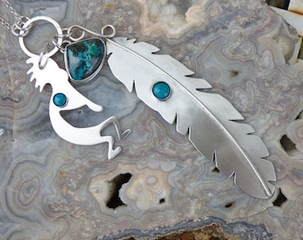 Sterling Silver Hand Cut Kokopelli Feather Turquoise Shattuckite Necklace