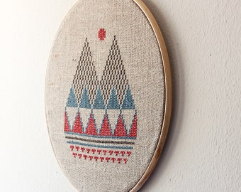 16 inch Hand embroidery Geomrtric wall decor Mountain view Modern Embroidery Hoop Art