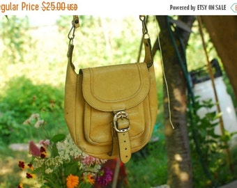 SALE Real Leather Mini Shoulder Bag VINTAGE 80's yellow womens bag