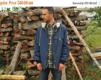 SALE Vintage Mens Hooded Parka with Patches