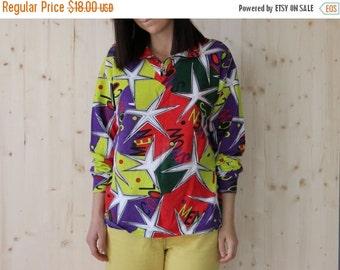 SALE Vintage 80's Multicolor sweatshirt  stars print sweatshirt