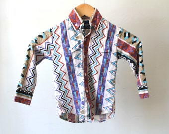 Kid's size 5 SOUTHWEST 90s IKAT abstract bright kids boy CHILDRENS button up down shirt
