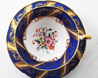 Paragon Teacup and Saucer / Blue and Gold / Vintage Tea Cup