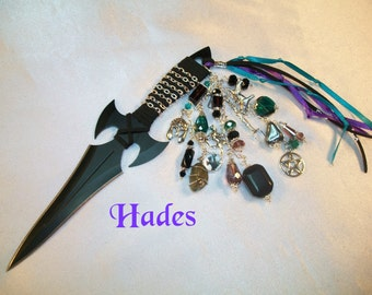 Hades Embellished Athame - Several Blade Styles/Sizes - Black Obsidian, Labradorite, Hematite