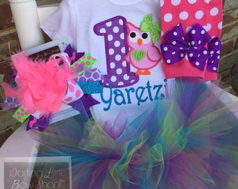 First Birthday Outfit - Owl Birthday Outfit - tutu, bodysuit, leggings, bow -- personalized outfit in hot pink, purple, turquoise and lime