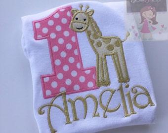 Giraffe Birthday Shirt or bodysuit -- Pink and Gold Birthday -- Giraffe Birthday