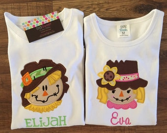 Personalized Applique Fall Scarecrow Long/Short Sleeve onesie or tshirt