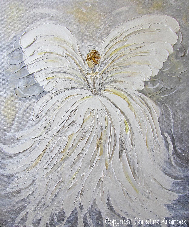Giclee Print Art Abstract Angel Painting By Christinekrainock