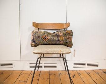 Vintage Purple Rug Fragment Lumbar Pillow