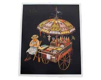 K Chin Frankfurters Vintage Lithograph