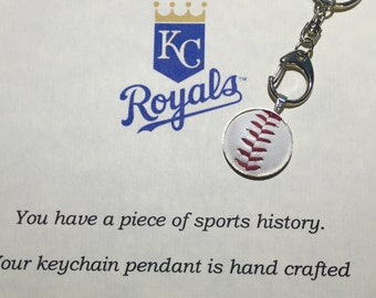 Chicago Cubs or any team game ball keychain sterling silver plated memory keeper personalized baseball  soccer mom gift