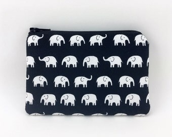Elephants Coin Purse, Change Purse, Mini Pouch, Zipper Wallet, Card Pouch, Padded Pouch, Gift idea, Black