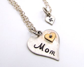 Mother Daughter Necklace Set - Sterling Silver - Personalized Jewelry - Personalized Heart