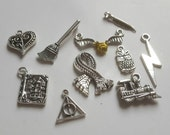 10pcs Harry Potter Theme Tibetan Silver Charms and pendants for jewellery making Including Hogwarts Express Train, Snitch, Owl, Scarf, Book