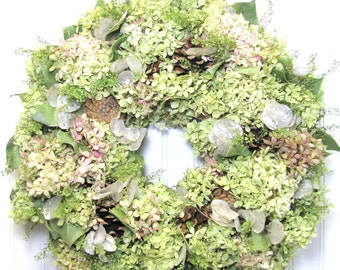 Natural Hydrangea Wreath, Dried Flower Wreath