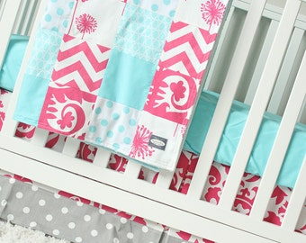 Baby Girl Pink Crib Set, Hot Pink, Aqua, Gray Crib Bedding, Aqua Blue Crib Sheet, Pink and Grey Crib Skirt, Girl Crib Bedding