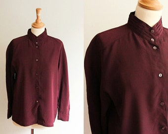 Vintage Maroon Pleated Collar Blouse