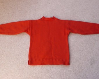 "Red wool traditional Guernsey vintage sweater to fit 4 - 5 yr old 28"" chest"