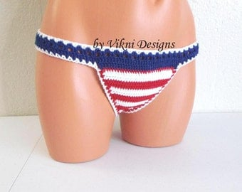 Crochet American Flag Bikini Bottom, Low rise Thong Cheeky Bikini Bottom by Vikni Designs