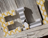 Penguin Letters, Custom Nursery Wooden Letters, Baby Boy Nursery or Baby Girl Nursery - Penguin Theme Custom Letters (yellow, grey, gray)