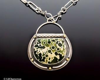 Atlantis -Ocean Jasper Sterling Silver Necklace with 18K Gold