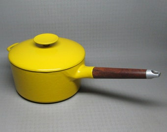 Michael Lax / Copco cast iron pan with yellow enamel mid century modern