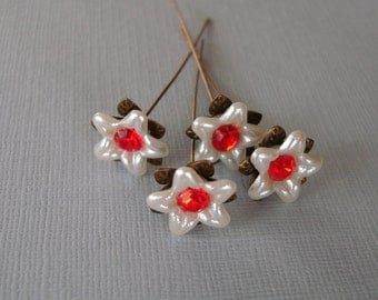 White Flower  Headpins 2 Inch long - 4.