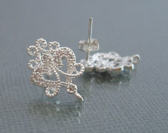 2- Victorian Style Stud Earrings CZ Cubic Zirconia Filigree Post Earrings  Jewelry Supplies  (bright silver, 2 pieces)
