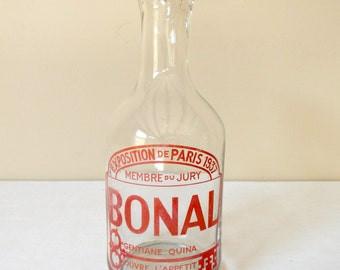 1937 French Antique Carafe French Vintage Bottle for French Aperitif Glass Gentian Cinchona