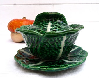 CABBAGE Majolica French Vintage Gravy Boat Barbotine Table Decor French Dinnerware Majolica Sauce boat  French dish - Shaped Cabbage