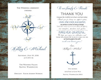 Nautical Compass Anchor Wedding Programs 100 Wedding Ceremony Personalized and Printed Programs