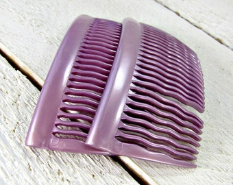 Vintage French Hair Comb Set, Lavender Purple Hair Combs, Plastic Hair Combs, 1940s WWII Sweetheart Hair Accessories for Women