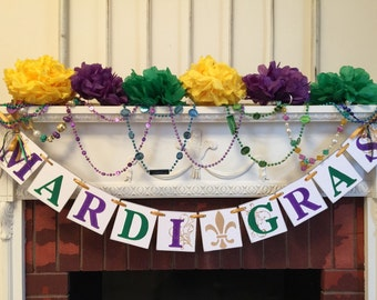 Mardi Gras Decorations- Mardi Gras Banner-Mardi Gras Party Decoration-Mardi Gras Party Banner