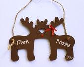 Reindeer Ornament, Kissing Reindeer, Anniversary Ornament, First Married Christmas Ornament, First Christmas as Mr and Mrs, Reindeer