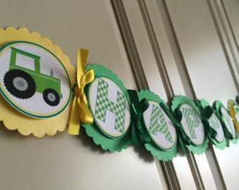 Green Tractor Birthday Banner