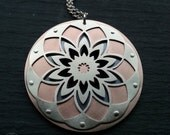 Large Mandala Pendant - triple layer handcut sterling silver and copper - Handcrafted Sacred Geometry Jewellery
