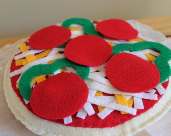 Pizza Felt Food Set,  Felt Food, Pretend Play, Play Food, Toddler Toy, Children's Gifts, Plush Food, Felt Food Set, Pretend Food