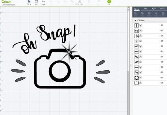 oh snap camera svg dxf png pdf    cricut  silhouette cut