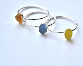 Size 6 Stack able Sterling Silver Seaglass Rings Yellow,or Blue or Amber