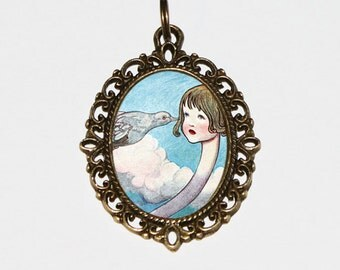 Alice's Adventures In Wonderland, Pigeon, Snake, Surreal Jewelry, Lewis Carroll, Bronze Oval Pendant